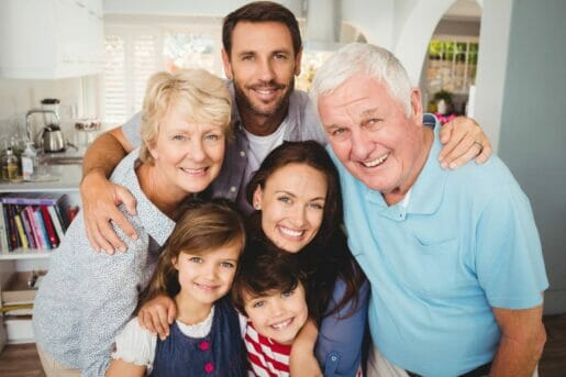 Grandfather with inheritance life insurance with a child